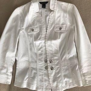 White House Black Market Cropped White Jacket